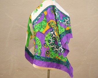 "Vintage psychedelic scarf / 60s 70s floral satin / purple lime green paisley / fashion scarf / 35"" square"