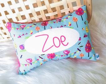 Aqua Garden Party Personalised Cushion