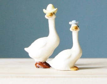 Vintage Hagen Renaker Geese Figurine Collectible Porcelain Ceramic 1980s Goose Couple
