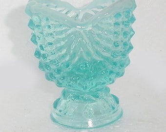 Toothpick Holder - Blue Opalescent toothpick Holder -Argonaut Shell  Pattern