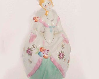 Antique -Victorian Lady Wall Pocket Planter - Porcelain Hand Painted Lady - Wall Hanging Pocket -