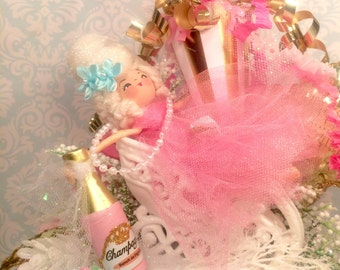 Marie Antoinette centerpiece holiday decor pink champagne New Year's Eve party decor cheers vintage retro inspired art doll
