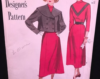 Vintage Large Simplicity #8122 Designer Pattern for Misses Size 11 Three-Piece Skirt, Blouse and Topper