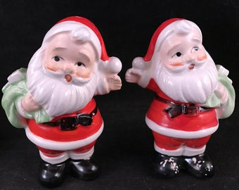 Set of Vintage Japan Santa Claus Christmas Salt and Pepper Shakers