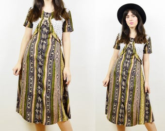 90s ethnic dress, boho dress, tribal print dress, 90s midi dress, 90s grunge dress, rayon dress, festival dress, tribal print, skater dress