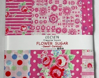 SALE 10 inch squares Layer Cake - FLOWER SUGAR Sweet Carnival by Lecien Fabric origami square