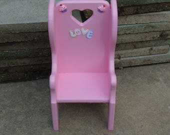 Child's upcycled wood doll chair with high back in bubblegum pink with love and cupcake adornments