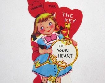 Vintage Unused Children's Novelty Valentine Greeting Card with Girl Holding Key Ring with Skeleton Keys