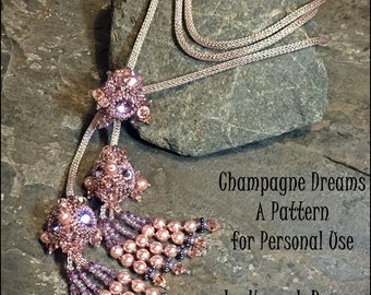 JUST UPDATED - Peyote Stitch Beading Pattern - Champagne Dreams Jewel pendant bracelet or necklace TUTORIAL Instructions by Hannah Rosner