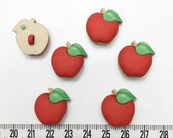 12 pcs of  Red Apple Shank Button - Matte