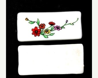50% OFF SALE Vintage Glass Beads Large Porcelain Floral Rectangle - Multicolor (1) VGB111