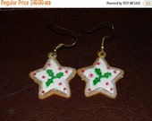 Gingerbread Earrings, Star Christmas Cookie Earrings, Holly, Icing Cookies, Star Christmas Cookies, Holiday Earrings, Christmas Earrings
