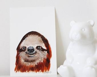 Sienna the Sloth, Sloth Art, Sloth Portrait, Sloth Painting, Animal Art, Funny Sloth Art, Mini Painting