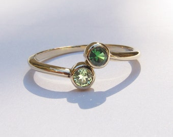 Mothers Ring, Two Stone Gold Ring - Customizable - 14k Gold, Tsavorite Garnet and Peridot Ring, Size 7 Ready To Ship
