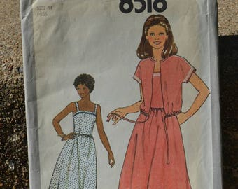 Vintage 70s Sewing Pattern Simplicity 8518 Sundress Dress and Short Sleeve Jacket