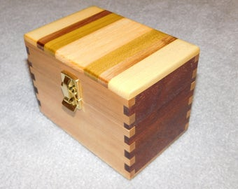 "Wood Recipe Box for 3"" x 5"" Cards - Maple & Walnut"