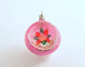 Vintage Christmas Ornament Pink Glass Ornament Indent Czechoslovakia