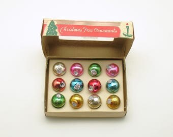 Vintage Christmas Glass Ornaments Feather Tree Glittered Miniature Ornaments