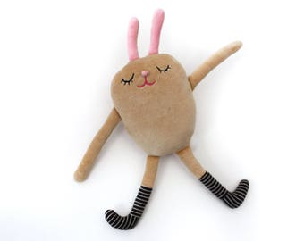 """Bunny Stuffed Plushie with Striped Socks """"Franco"""" Cotton Monster"""