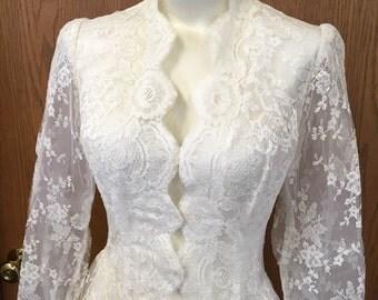 Stunning Vintage 1950's Ivory Lace Wedding Coat Size Small
