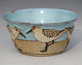 BIRDS & BEACH BOWL-- Medium 16 ounce size with 5 Sanderlings 1 of 3 from second set
