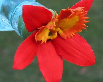HUMMINGBIRD FEEDER--Epidendrum Orchid in Bright Red, Orange, and Yellow--Large Size