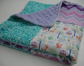 Enchanting Owls Lavender Teal Mini Crib Baby Blanket 25 x 38 READY TO SHIP On Sale
