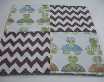 Long Neck Turtles Four Square Baby Minky Burp Cloth 12 x 12 READY TO SHIP On Sale