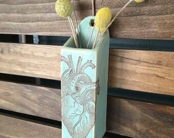 Green Stoneware Anatomical Heart Hanging Wall Vase