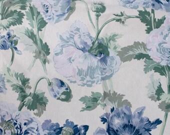 vintage blue floral chintz fabric / blue flower print cotton textile / multiple pieces
