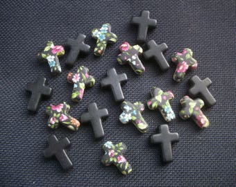 20 Floral and Black Stone Cross Beads 21mm