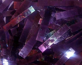 40 2 Inch Purple Iridescent Border Stained Glass Mosaic Tiles