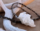 Natural Apophyllite Crystal Cluster Pendant + Smoky Quartz, Labradorite, Handmade Fine Silver Beads + Winter + Snow + Frost