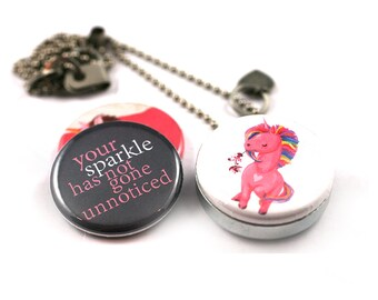 Unicorn Necklace • Pink Unicorn Jewelry • Unicorn Gift • Unicorn Locket • Unicorn Jewelry • 3 in 1 • Magnetic • Gift for Her • SPARKLE