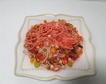 Destash 1/2 Pound Assorted Beads in Oranges and Yellows
