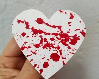 Blood splattered heart brooch pin horror Valentine's day My Bloody Valentine