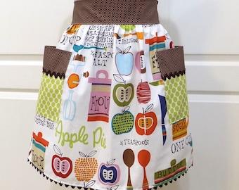 Womens Retro Half Apron Modern Chic Cute Kitchen Waist Aprons with Pockets - Farmers market