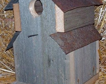 One-Hole - Two- Tin Roof Barn wood Amish Made Bird House