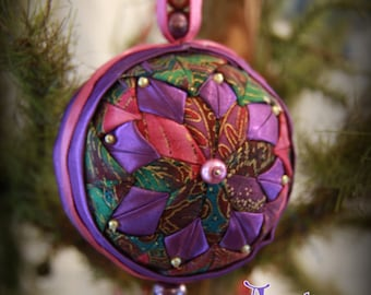 Handmade Quilted & Beaded Christmas Ball Ornament Purple Pink
