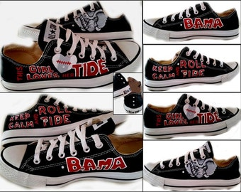University of Alabama, Bama, Roll Tide, Sports, Football, Womens Shoes, College, Custom Painted Shoes, Converse, Chucks, Shoes Included