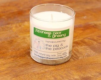 Soy Wax Candle - Japanese Pear and Ginseng Pure Soy Wax Candle - 7.5 oz