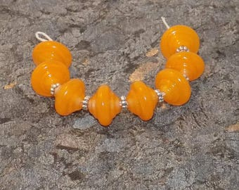 Tangerine/Apricot Bicone  Glass Lampwork Bead Set SRA SRAJD