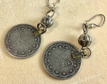 Arabic Silver Coin Pierced Earrings Vintage