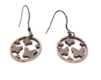 Stainless Steel Round Butterfly Earrings- Surgical Grade Stainless Ear Wires, Jewelry for Women, 316l Stainless Steel Jewelry, Nature Lover