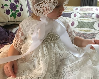 Ava, Lace Christening Gown and Hat.  SOLD OUT