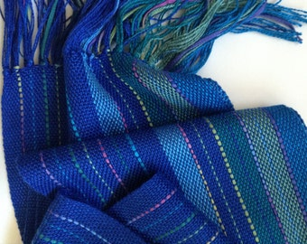 handwoven spring scarf in a bold blue blend