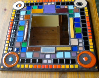 Mosaic Mirror. Up Cycled Mirror. Recycled Mirror. Mirror. Bright Colors Mirror. Square Mirror. Mod Mirror. Black Red Purple Orange Brown