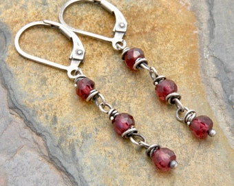 January Birthstone Earrings, Rhodolite Red Garnet Dangles, Mothers Jewelry, Gemstone Earrings, Sterling Silver Lever Backs #4747