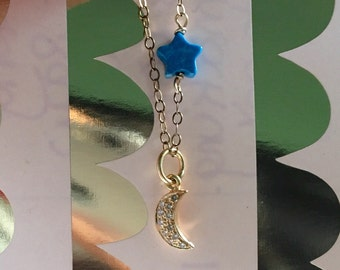 Sparkly love you to the moon and back 18K solid yellow gold diamond pave turquoise star muslim necklace