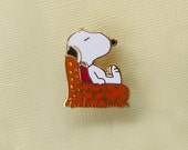 Aviva Vintage Snoopy in Orange Chair Pin  Enamel Cloisonne 1126